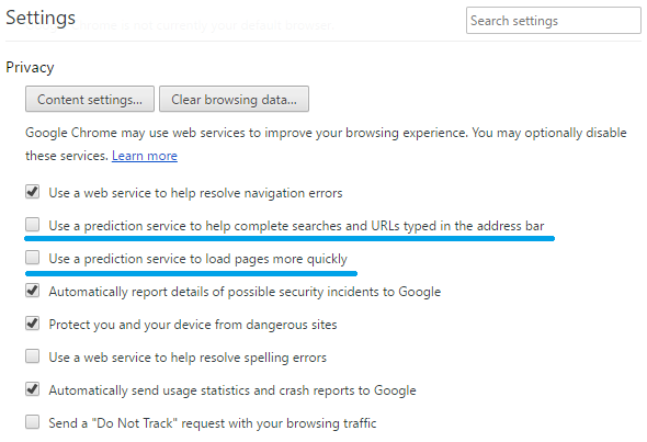 How to Stop Page Prediction Feature in Google Chrome