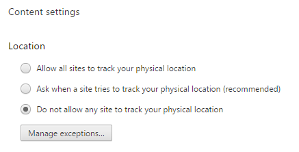 Stop Website from Snooping into Your Location in Google Chrome
