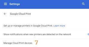 Google Chrome Settings adv Printing GCP Manage