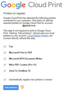 Google Chrome Settings adv Printing GCP Manage Add Printers email login