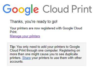 Google Chrome Settings adv Printing GCP Manage Add Printers