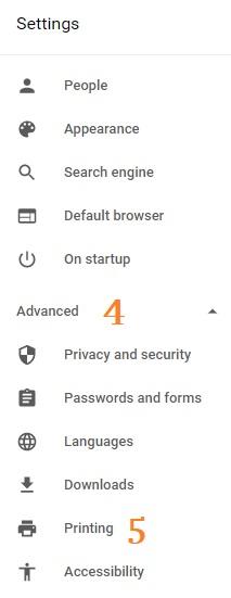 Google Chrome Settings adv Printing
