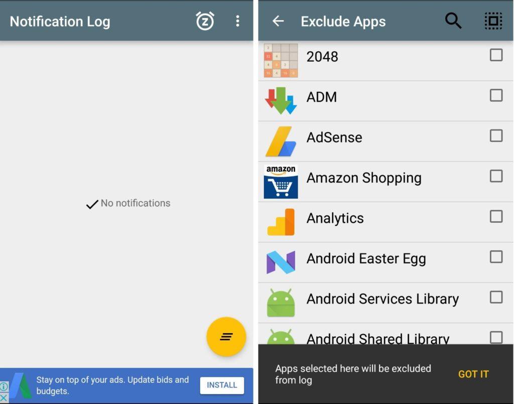 Notif Log Exclude Apps