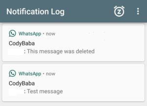 Notification Log for WhatsApp Delete for everyone