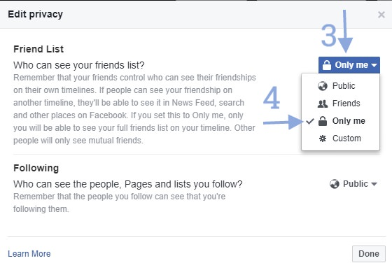 Facebook Friend list change settings only me