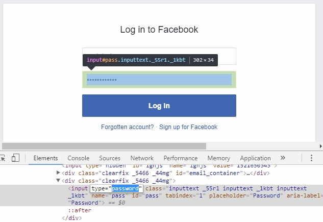 Facebook login page Inspect element