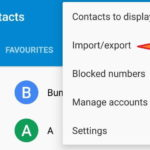 Google Contact App Menu