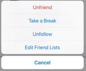 Unfriend from Facebook