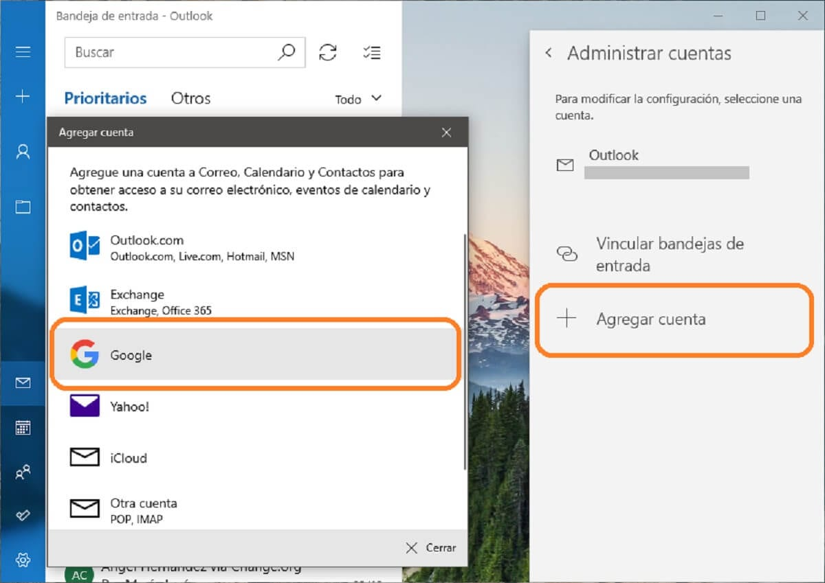 How to add a Gmail account in the Windows 10