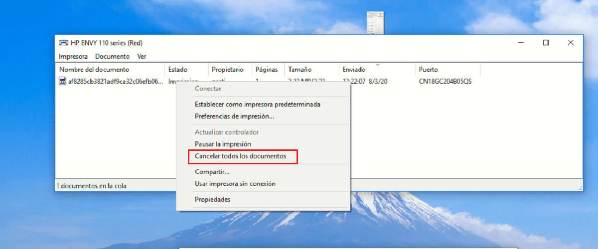 How to cancel printing a document in Windows