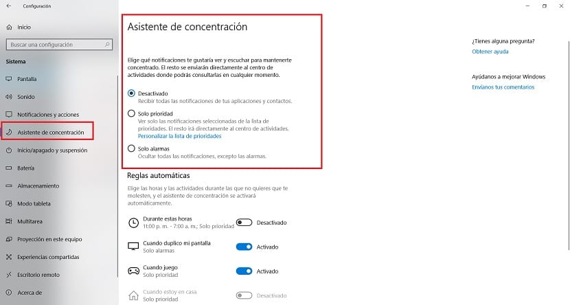 How to configure the Concentration Wizard in Windows 10